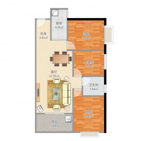中亿建蓝海国际3室1厅1卫1厨86.00㎡户型图