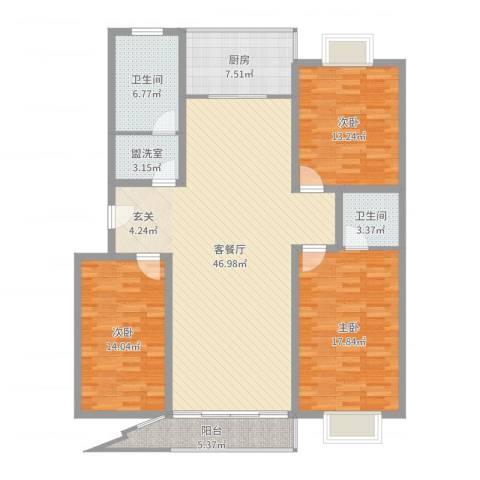 兴业山海天花园3室4厅2卫1厨148.00㎡户型图