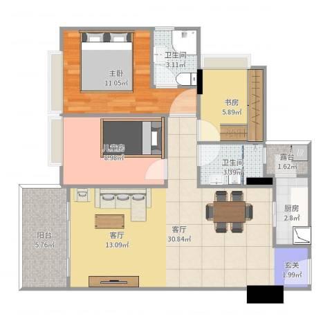 普君新城3室1厅2卫1厨92.00㎡户型图