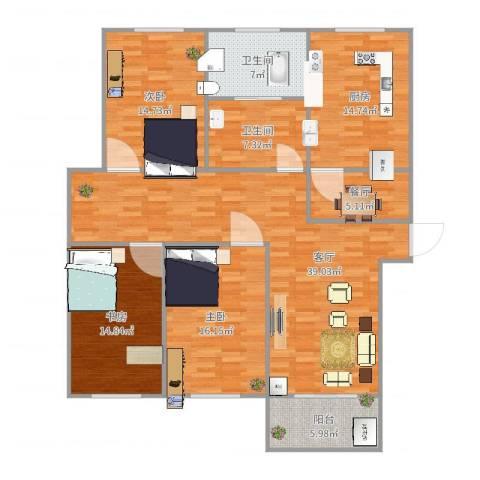 相公吉祥苑3室2厅2卫1厨156.00㎡户型图
