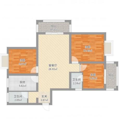 星月城3室2厅2卫1厨96.00㎡户型图