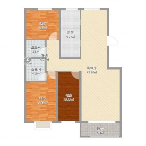 金山文汇3室2厅2卫1厨123.00㎡户型图