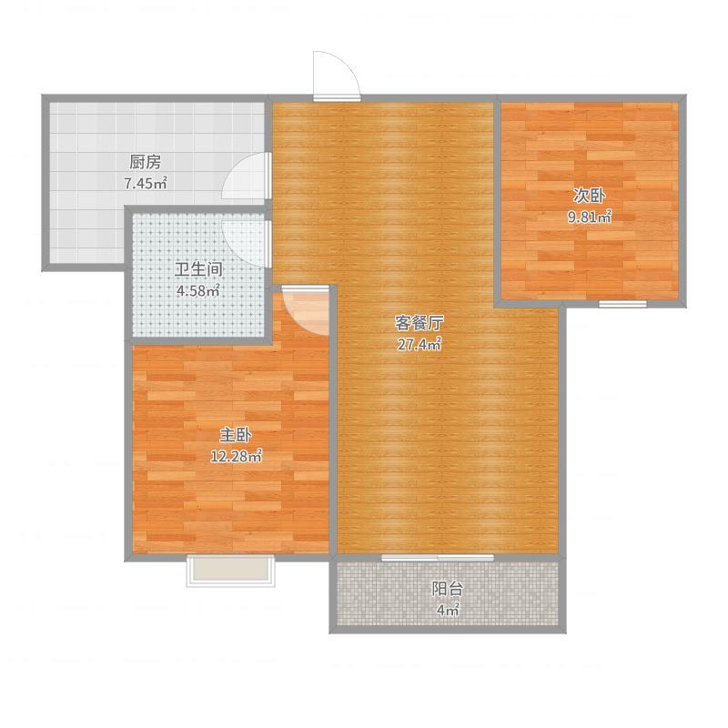 沋河华府6号楼四户型两室两厅一卫一厨户型图大全 ...