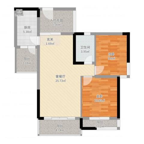 盛天龙湾2室2厅1卫1厨90.00㎡户型图