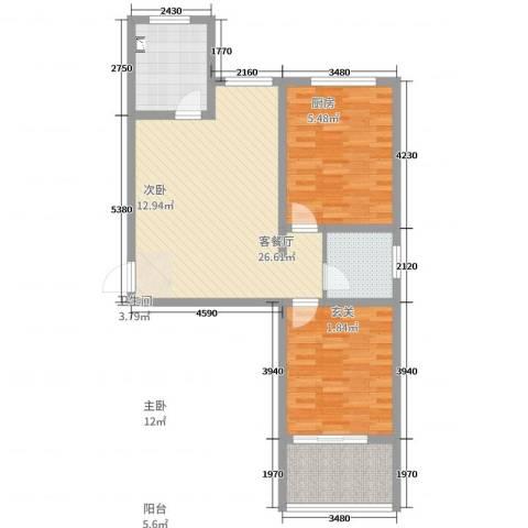 运河鑫城2室2厅1卫1厨84.00㎡户型图