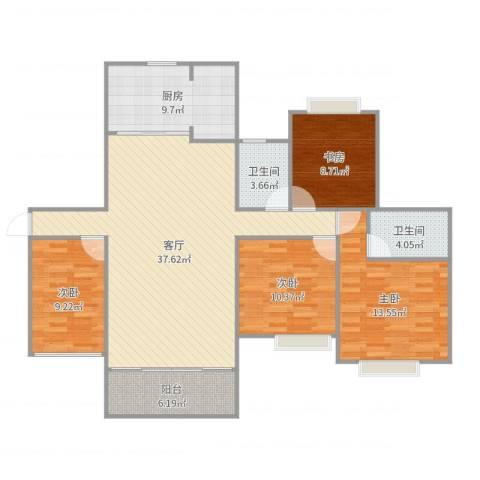 中海翠林兰溪园4室1厅2卫1厨129.00㎡户型图