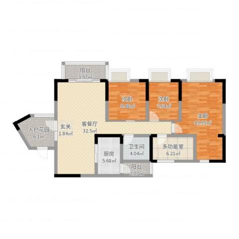名门山庄3室2厅1卫1厨121.00㎡户型图