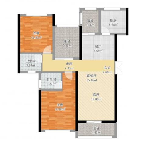 景湖荣郡2室2厅2卫1厨114.00㎡户型图