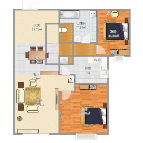 芙蓉公寓2室1厅1卫1厨118.00㎡户型图