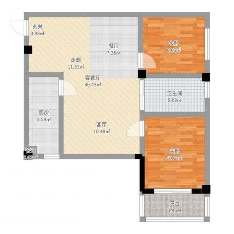 太子花苑2室2厅1卫1厨80.00㎡户型图