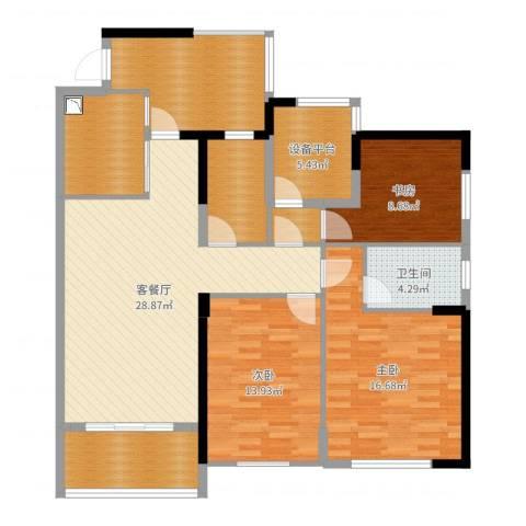九州丽景苑3室2厅1卫0厨131.00㎡户型图