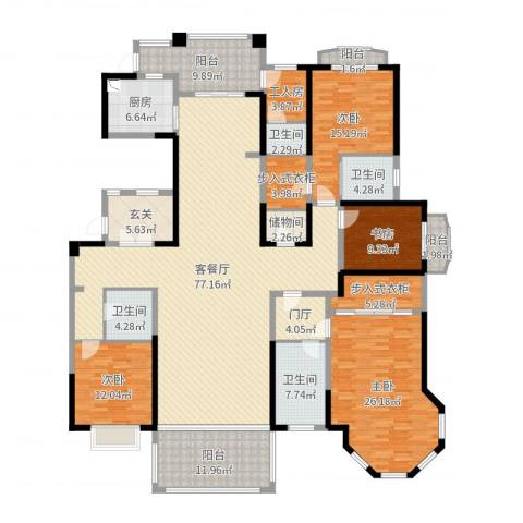 楚天逸品4室2厅4卫1厨270.00㎡户型图