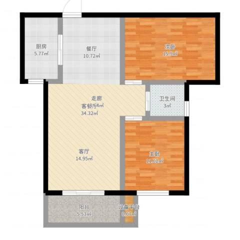 澜点家园2室2厅1卫1厨96.00㎡户型图
