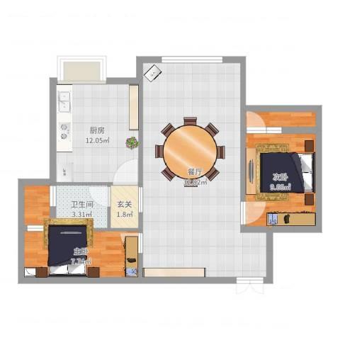 东方名城2室1厅1卫1厨88.00㎡户型图
