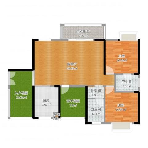 金汇上元2室2厅2卫1厨114.00㎡户型图