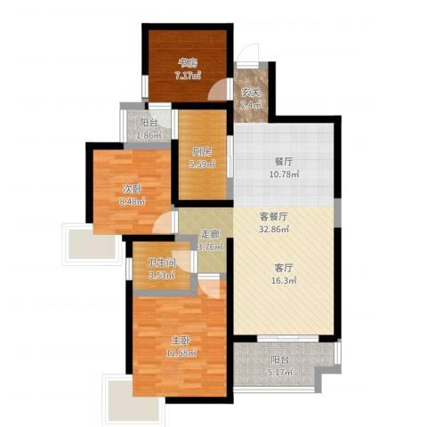 易道郡玫瑰公馆3室2厅1卫1厨97.00㎡户型图