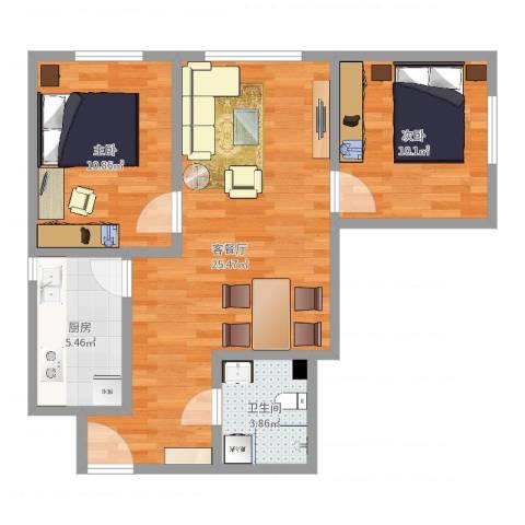诗景颂苑7-12012室2厅1卫1厨70.00㎡户型图