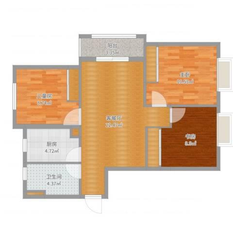伊顿华府3室2厅1卫1厨83.00㎡户型图