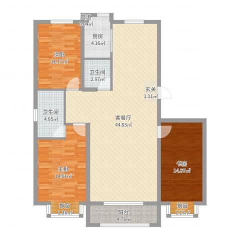 燕鑫花苑3室2厅2卫1厨127.00㎡户型图
