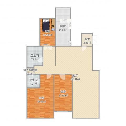 天鸿美域3室1厅2卫1厨190.00㎡户型图