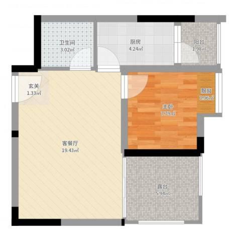 绿城新干线1室2厅1卫1厨53.00㎡户型图