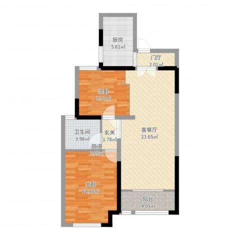 紫金城2室2厅1卫1厨80.00㎡户型图