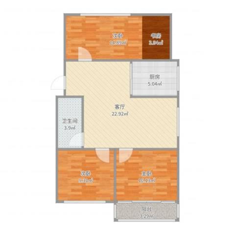 凤凰花园城3室1厅1卫1厨87.00㎡户型图