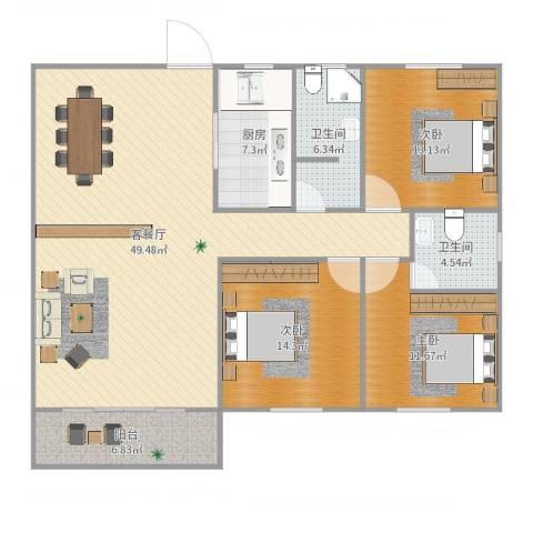 白鹭花园3室2厅2卫1厨142.00㎡户型图