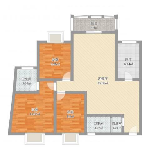 华盛家园3室4厅2卫1厨107.00㎡户型图