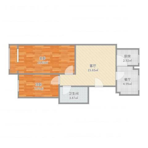定福庄西里2室2厅1卫1厨64.00㎡户型图