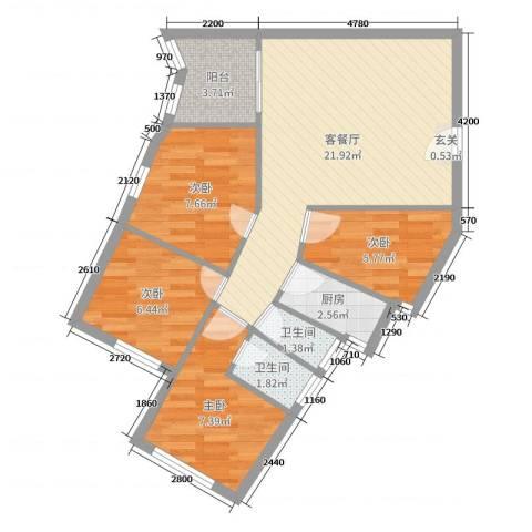 新洲花园4室2厅2卫1厨109.00㎡户型图