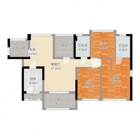 佳兆业水岸豪门3室2厅2卫1厨119.00㎡户型图