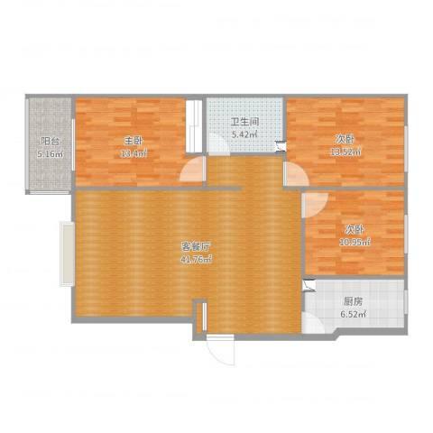 阳光佳苑B区3室2厅1卫1厨121.00㎡户型图