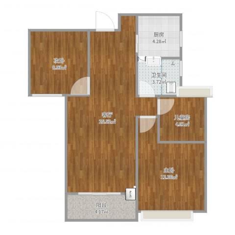 绿地玫瑰城3室1厅1卫1厨80.00㎡户型图