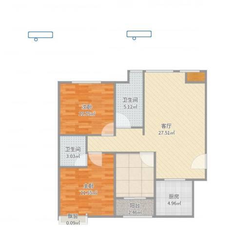 航空祥郡2室1厅4卫1厨91.00㎡户型图