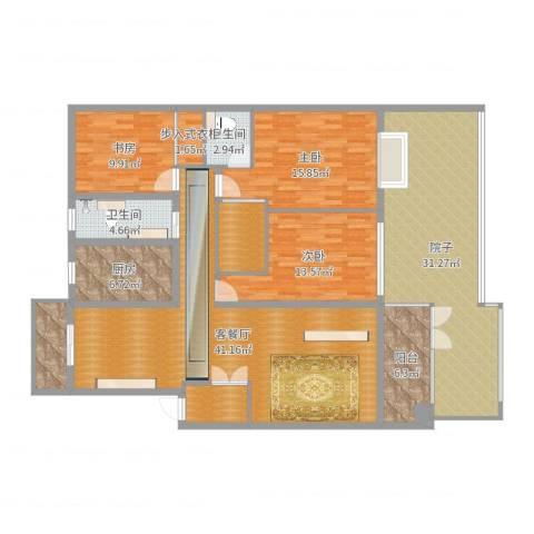 岚翠苑13栋107室3室2厅2卫1厨180.00㎡户型图