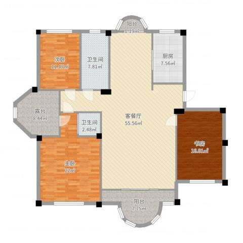 青云林海3室2厅2卫1厨175.00㎡户型图