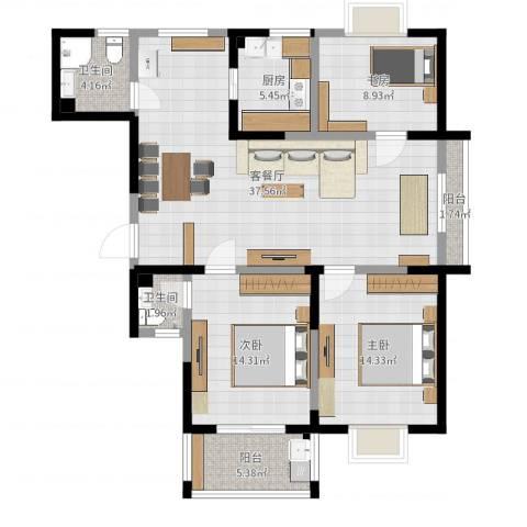 东方京都3室2厅2卫1厨117.00㎡户型图