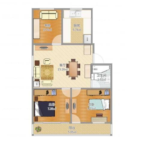 住友家园别墅3室1厅1卫1厨62.00㎡户型图
