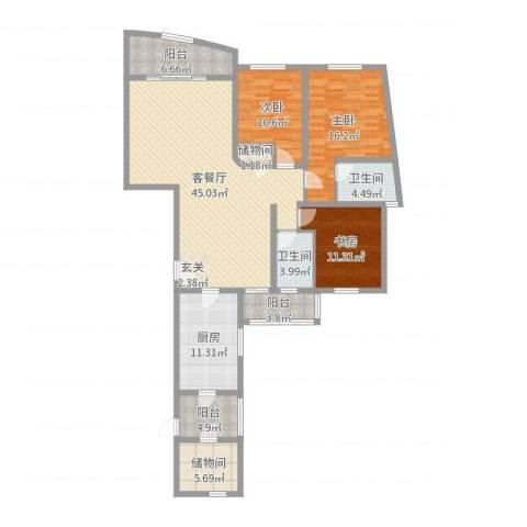 仁恒滨江园3室2厅2卫1厨156.00㎡户型图