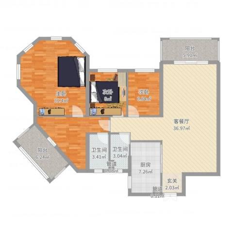 天乙海岸名都3室2厅2卫1厨137.00㎡户型图