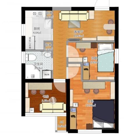 世嘉丽晶3室2厅1卫1厨52.00㎡户型图