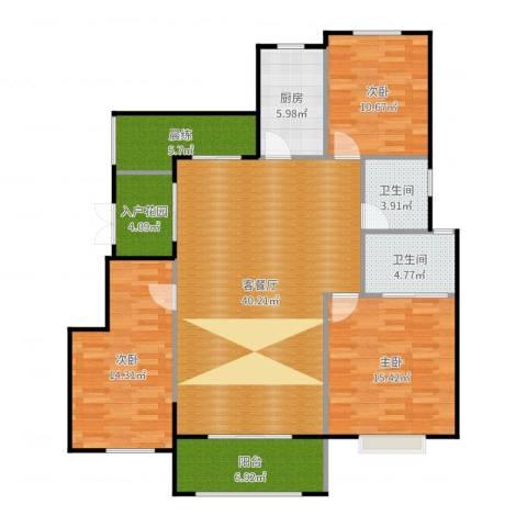 富兴御园3室2厅2卫1厨140.00㎡户型图