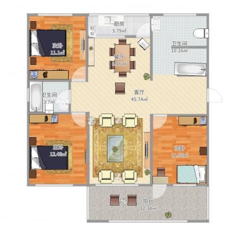 葡萄园小区3室1厅1卫1厨126.00㎡户型图