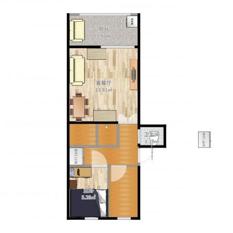 马甸南村1室2厅1卫0厨46.00㎡户型图