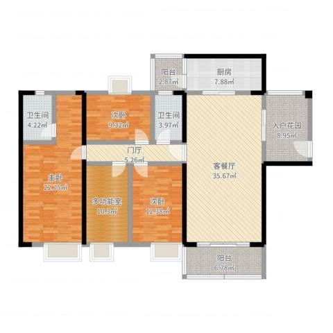 世纪华庭3室2厅2卫1厨163.00㎡户型图