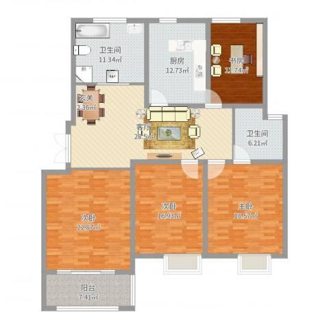 奥林春天4室1厅2卫1厨170.00㎡户型图