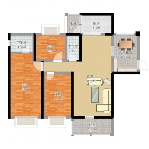 世纪华庭3室0厅2卫1厨80.00㎡户型图