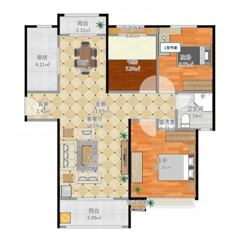 绿地新里・香榭丽公馆3室2厅2卫1厨112.00㎡户型图
