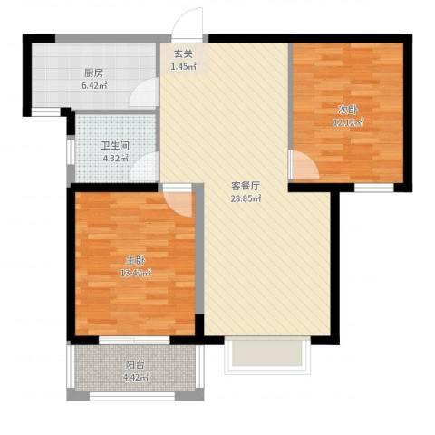 源盛嘉禾C区2室2厅1卫1厨87.00㎡户型图